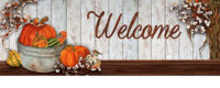 Pumpkins And Cotton Fall Decorative Signature Sign
