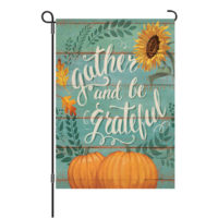 Gather And Be Grateful Thanksgiving Reversible Decorative Garden Flag
