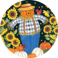 Sunflower Scarecrow Fall Decorative Accent Magnet