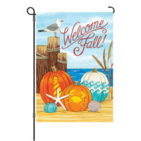 Coastal Pumpkins Fall Reversible Decorative Garden Flag