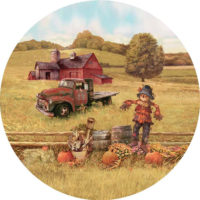Scarecrow And Truck Fall Decorative Accent Magnet