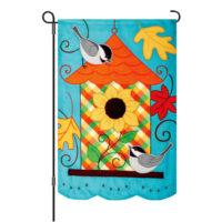 Fall Birdhouse Decorative Applique Reversible Garden Flag
