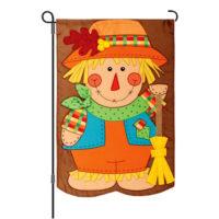 Scarecrow With Broom Fall Decorative Applique Reversible Garden Flag