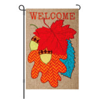 Welcome Leaves Fall Burlap Reversible Decorative Garden Flag